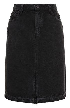 Джинсовая юбка-миди с потертостями | Фото №1