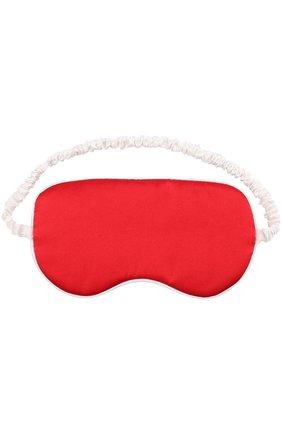 Шелковая маска для глаз с принтом Olivia Von Halle красного цвета | Фото №1