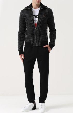 Стеганый бомбер на молнии с воротником-стойкой Dolce & Gabbana черная   Фото №2
