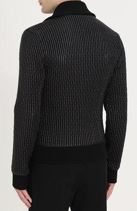 Стеганый бомбер на молнии с воротником-стойкой Dolce & Gabbana черная   Фото №4