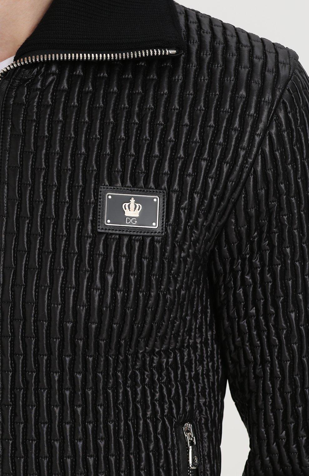 Стеганый бомбер на молнии с воротником-стойкой Dolce & Gabbana черная   Фото №5
