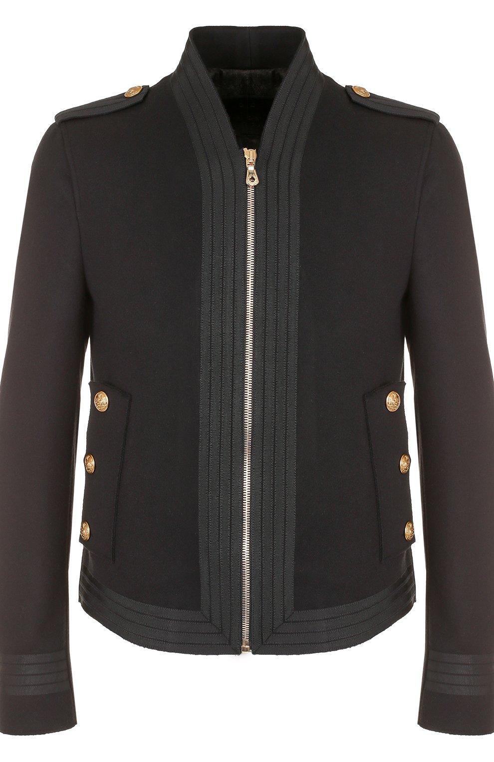 Шерстяная приталенная куртка на молнии   Фото №1