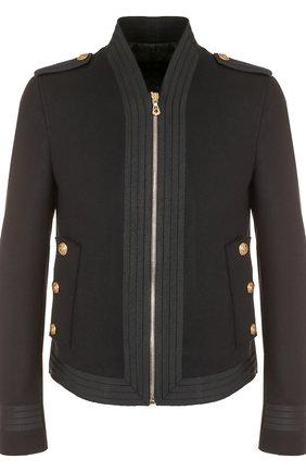 Шерстяная приталенная куртка на молнии Dolce & Gabbana черная   Фото №1