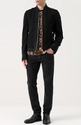 Шерстяная приталенная куртка на молнии Dolce & Gabbana черная   Фото №2