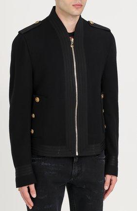 Шерстяная приталенная куртка на молнии Dolce & Gabbana черная   Фото №3
