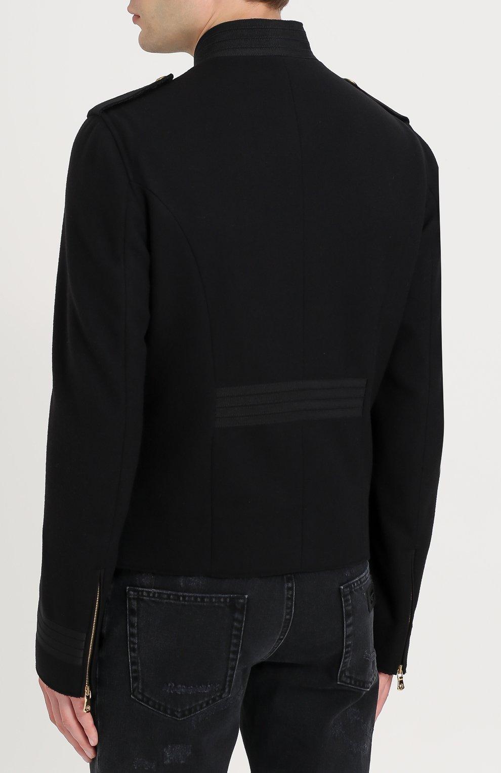 Шерстяная приталенная куртка на молнии Dolce & Gabbana черная   Фото №4