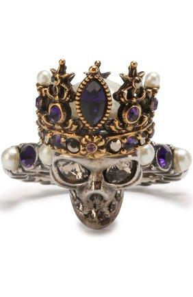 Кольцо с черепом с кристаллами Swarovski и жемчужинами | Фото №1