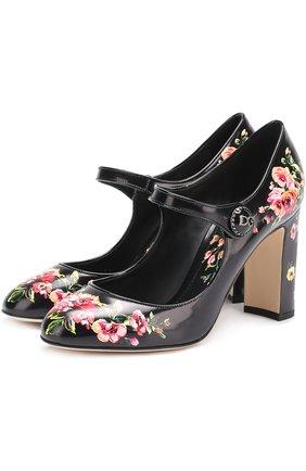 Кожаные туфли Vally с цветочным принтом | Фото №1