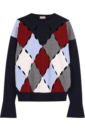 Шерстяной пуловер с круглым вырезом   Фото №1