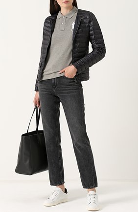 Женское хлопковое поло с вышитым логотипом бренда POLO RALPH LAUREN серого цвета, арт. 211505656 | Фото 2