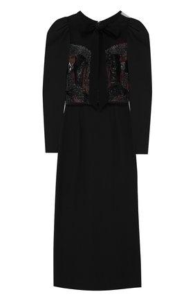 Приталенное платье-миди с рукавом-фонарик   Фото №1