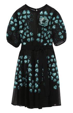 Приталенное шелковое мини-платье Elie Saab черное | Фото №1
