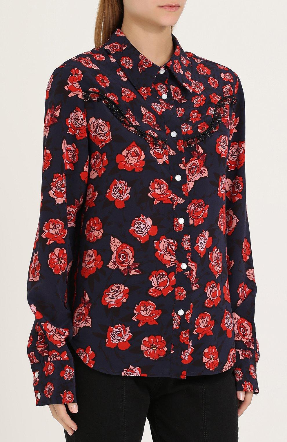 59fe7cd9ec1 Женская темно-синяя шелковая блуза свободного кроя с принтом MARKUS ...