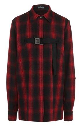 Женская хлопковая блуза прямого кроя в клетку Marcelo Burlon, цвет красный, арт. CWGA004E17505001 в ЦУМ   Фото №1