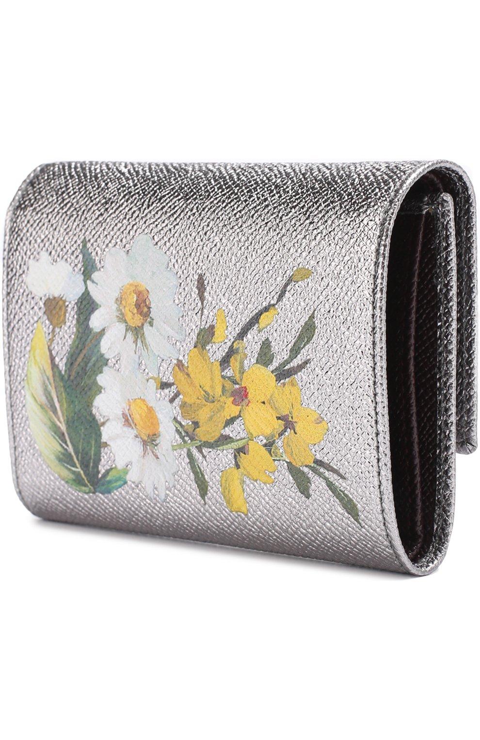 Портмоне из металлизированной кожи с цветочным принтом Dolce & Gabbana серебряного цвета | Фото №2