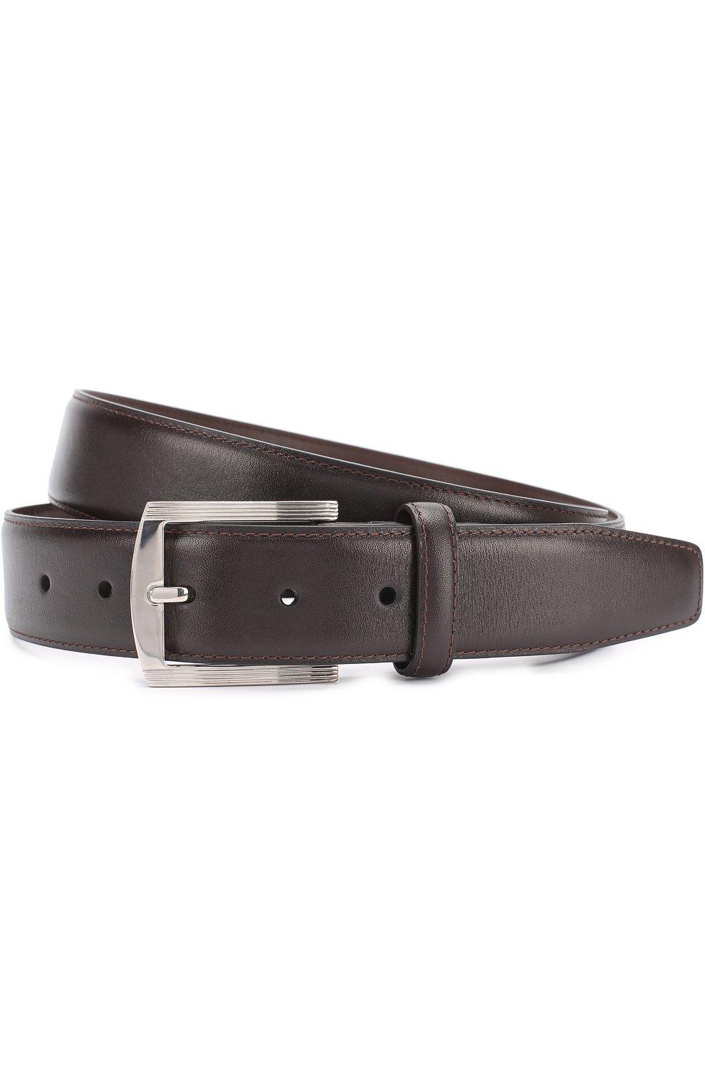 Мужской кожаный ремень с металлической пряжкой KITON темно-коричневого цвета, арт. USC3P/N00101 | Фото 1