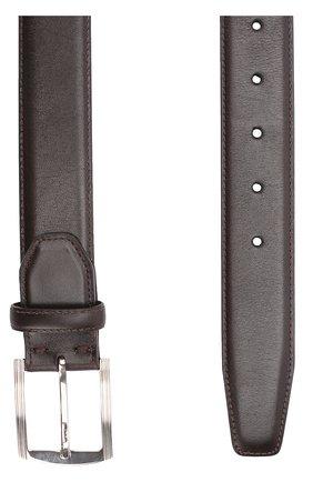 Мужской кожаный ремень с металлической пряжкой KITON темно-коричневого цвета, арт. USC3P/N00101 | Фото 2