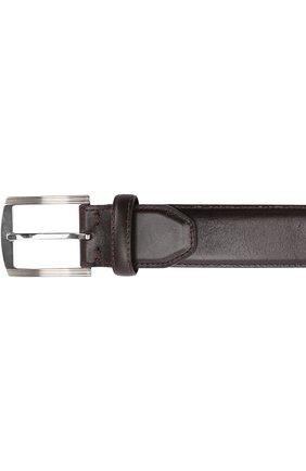 Мужской кожаный ремень с металлической пряжкой KITON темно-коричневого цвета, арт. USC3P/N00101 | Фото 3