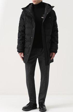 Брюки из смеси шерсти и хлопка с поясом на резинке Dolce & Gabbana черные | Фото №2