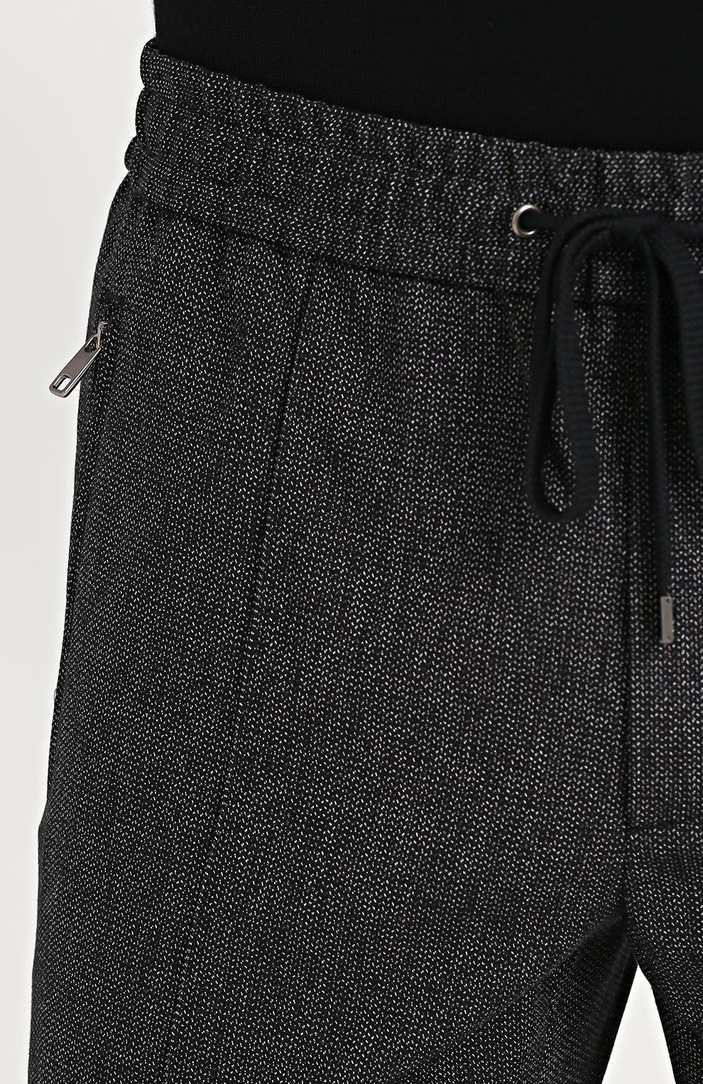 Брюки из смеси шерсти и хлопка с поясом на резинке Dolce & Gabbana черные | Фото №5