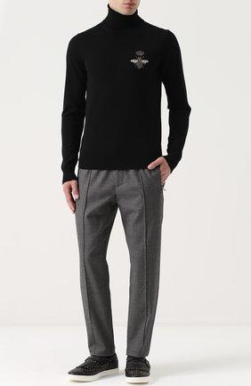 Брюки из смеси шерсти и хлопка с поясом на резинке Dolce & Gabbana светло-серые | Фото №2