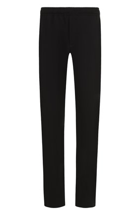 Шерстяные брюки прямого кроя с поясом на резинке
