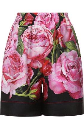 Шелковые мини-шорты с цветочным принтом Dolce & Gabbana розовые | Фото №1