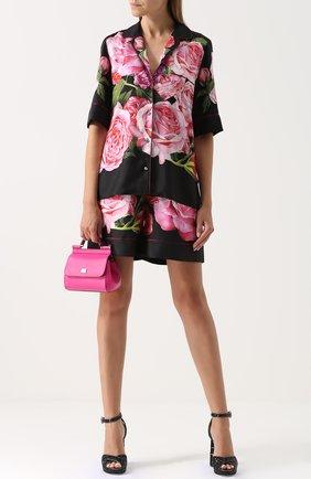 Шелковые мини-шорты с цветочным принтом Dolce & Gabbana розовые | Фото №2