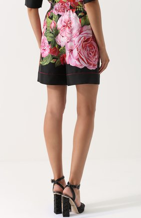 Шелковые мини-шорты с цветочным принтом Dolce & Gabbana розовые | Фото №4