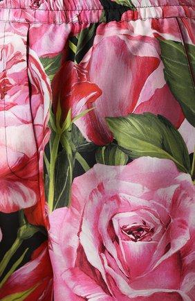 Шелковые мини-шорты с цветочным принтом Dolce & Gabbana розовые | Фото №5