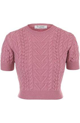 Укороченный топ фактурной вязки Valentino розовый | Фото №1