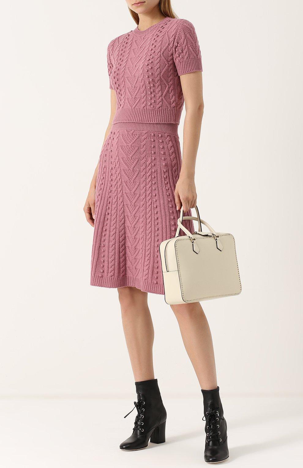 Укороченный топ фактурной вязки Valentino розовый | Фото №2