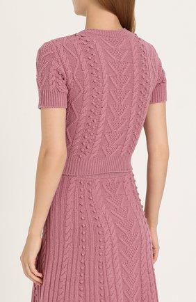 Укороченный топ фактурной вязки Valentino розовый | Фото №4