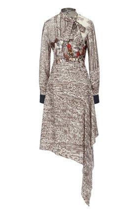 Шелковое платье асимметричного кроя с принтом | Фото №1