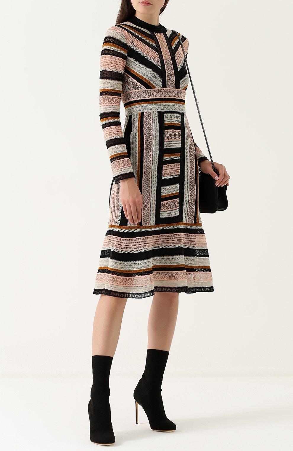 04286f517ab Женское разноцветное вязаное платье-миди с длинным рукавом M MISSONI ...