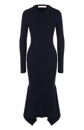 Вязаное платье-миди с длинным рукавом | Фото №1