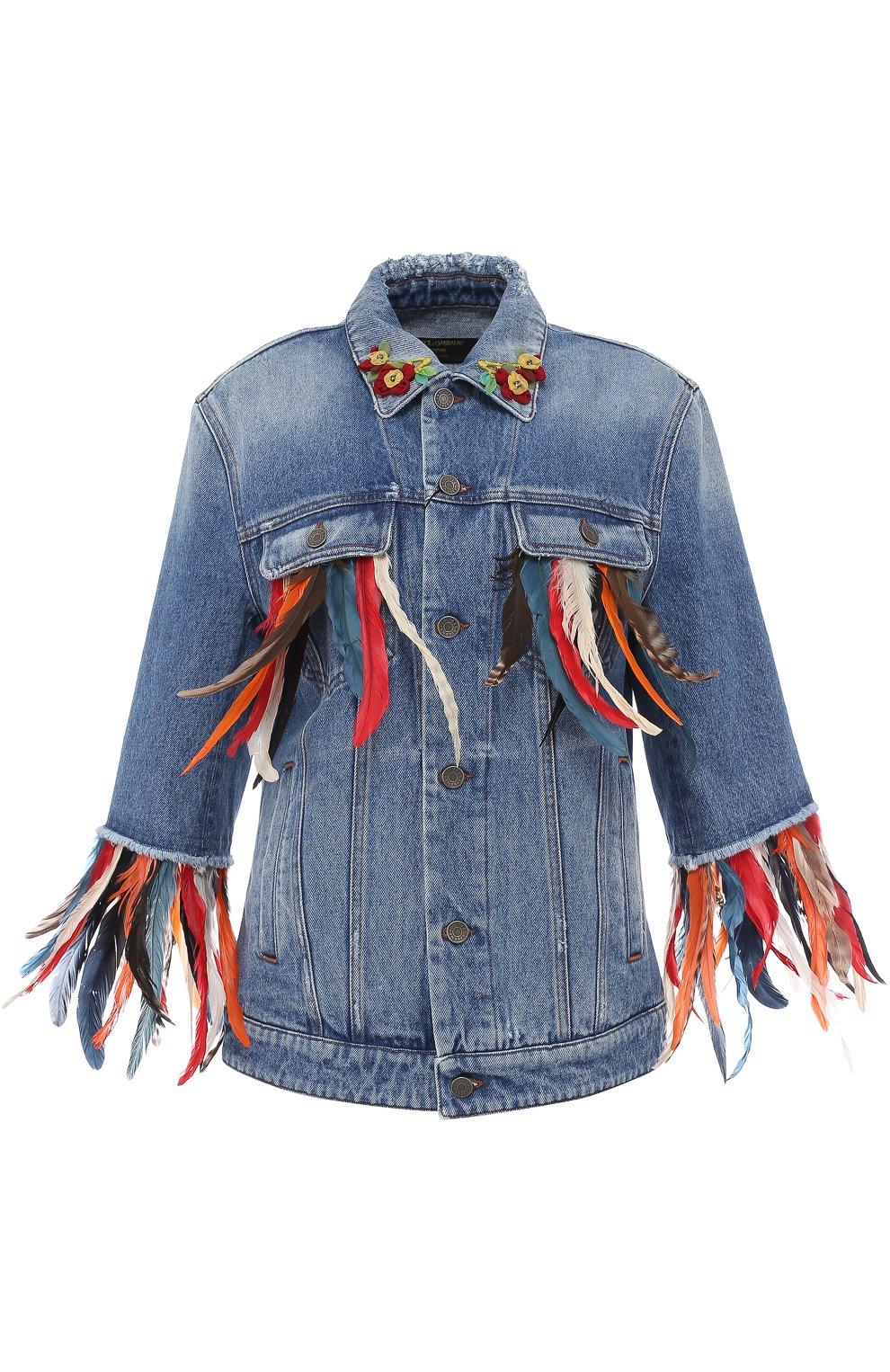 Джинсовая куртка перьевой отделкой | Фото №1