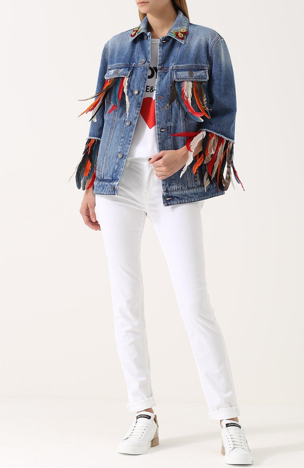 Джинсовая куртка перьевой отделкой Dolce & Gabbana голубая | Фото №2