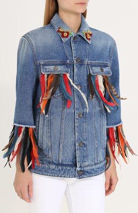 Джинсовая куртка перьевой отделкой Dolce & Gabbana голубая | Фото №3
