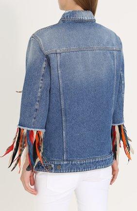 Джинсовая куртка перьевой отделкой Dolce & Gabbana голубая | Фото №4