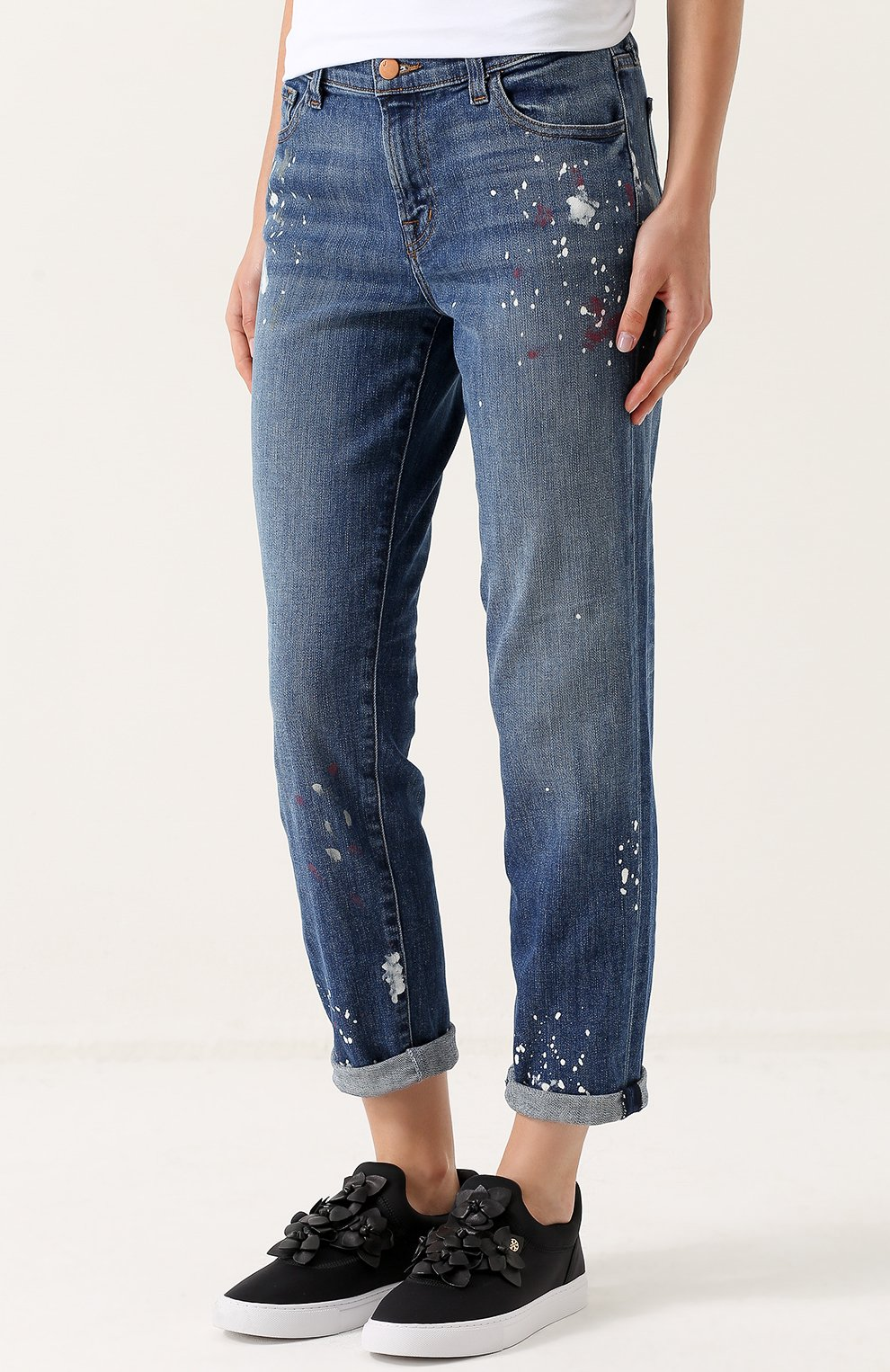 7b31d63279c Женские синие укороченные джинсы прямого кроя с потертостями J BRAND ...