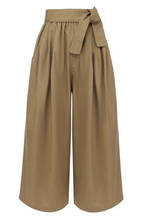 Укороченные широкие брюки с поясом | Фото №1
