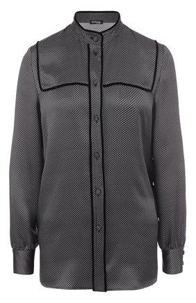 Шелковая блуза с воротником-стойкой | Фото №1