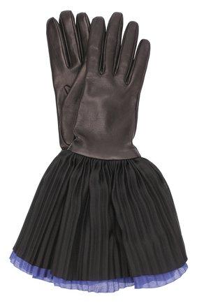 Кожаные перчатки с шелковой плиссированной отделкой | Фото №1