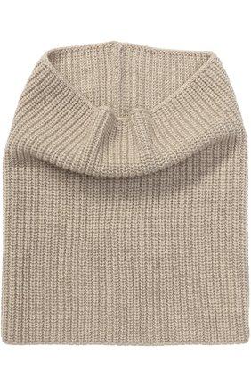 Вязаный шарф-хомут из кашемира Inverni бежевый   Фото №1