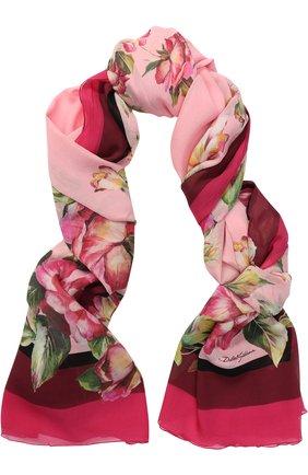 Шелковый шарф с цветочным принтом Dolce & Gabbana розовый | Фото №1