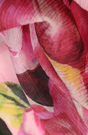 Шелковый шарф с цветочным принтом Dolce & Gabbana розовый | Фото №2