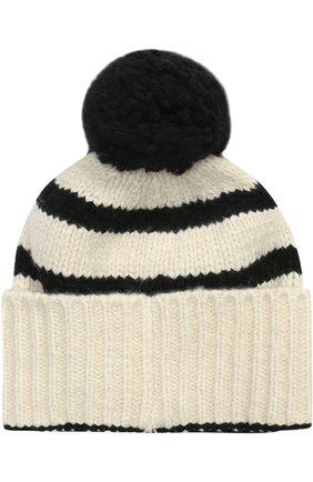 Вязаная шапка из кашемира с помпоном | Фото №1