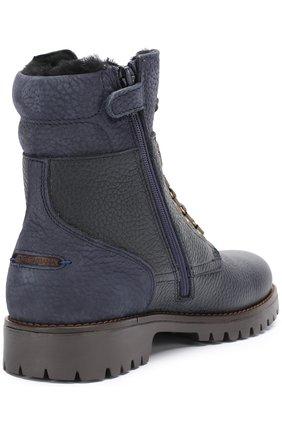 Детские кожаные ботинки на шнуровке с молнией Dolce & Gabbana темно-синего цвета | Фото №3