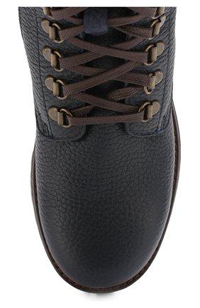 Детские кожаные ботинки на шнуровке с молнией Dolce & Gabbana темно-синего цвета | Фото №4